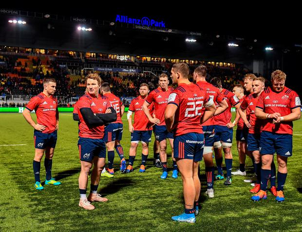 Munster players react following their Heineken Champions Cup Pool 4 defeat to Saracens at Allianz Park in Barnet, England. Photo: Seb Daly/Sportsfile