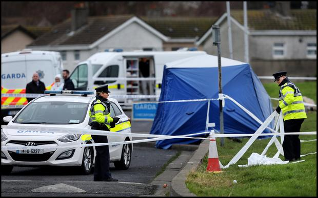 Probe: The scene where a teenager's body parts were found on Moatview Drive, Coolock. Photo: Steve Humphreys