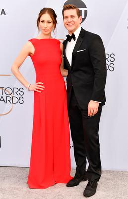 Allen Leech (R) and Jessica Herman arrive at the 25th Annual Screen ActorsGuild Awards at The Shrine Auditorium on January 27, 2019 in Los Angeles, California. (Photo by Rodin Eckenroth/Getty Images)