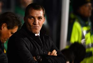 Manager Brendan Rodgers of liverpool looks on during the Barclays Premier League match between Fulham and Liverpool at Craven Cottage