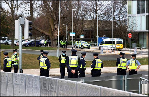 Garda surround RTÉ in Donnybrook ahead of the expected St Patricks Day protests. Photo by Steve Humphreys