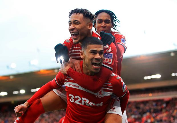 Middlesbrough's Ashley Fletcher celebrates scoring his side's first goal of the game. Photo: Owen Humphreys/PA Wire