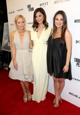 """Actresses Maria Bello, Moran Atias, and Mila Kunis attend the premiere of Sony Picture Classics' """"Third Person"""" at Linwood Dunn Theater at the Pickford Center for Motion Study on June 9, 2014 in Hollywood, California.  (Photo by Frederick M. Brown/Getty Images)"""
