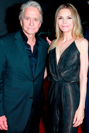 Michael Douglas (L) and Michelle Pfeiffer attend the premiere of Disney And Marvel's 'Ant-Man And The Wasp' on June 25, 2018 in Hollywood, California.  (Photo by Rich Fury/Getty Images)