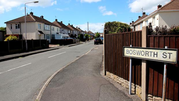 General view of Bosworth Street in Mansfield home of missing teenager Amber Peat. Amber Peat/PA Wire