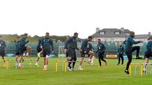 Republic of Ireland players go through their paces in training at Gannon Park in Malahide yesterday