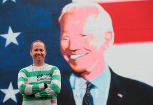 Joe Blewitt, a cousin of US presidential candidate Joe Biden, at a mural of the former vice-president in his ancestral home of Ballina, Co Mayo