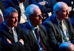 Ireland manager Mick McCarthy, centre, with FAI Interim Chief Executive Gary Owens, left, and FAI President Gerry McAnaney during the 2020/21 UEFA Nations League Draw at Beurs van Berlage Conference Centre in Amsterdam, Netherlands. Photo: UEFA via Sportsfile
