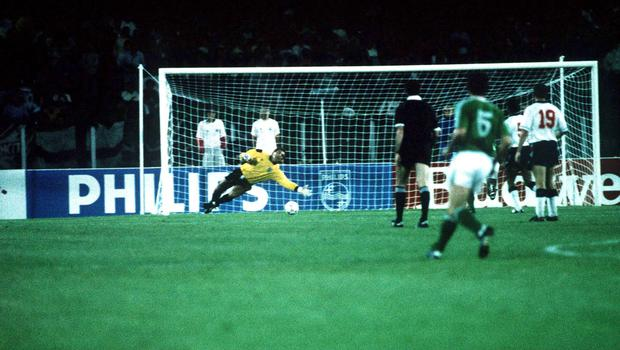 June 1990; England goalkeeper Peter Shilton is beaten by the Republic of Ireland's Kevin Sheedy. Republic of Ireland v England, World Cup Finals, Cagliari, Italy. Soccer. Picture credit; Ray McManus / SPORTSFILE