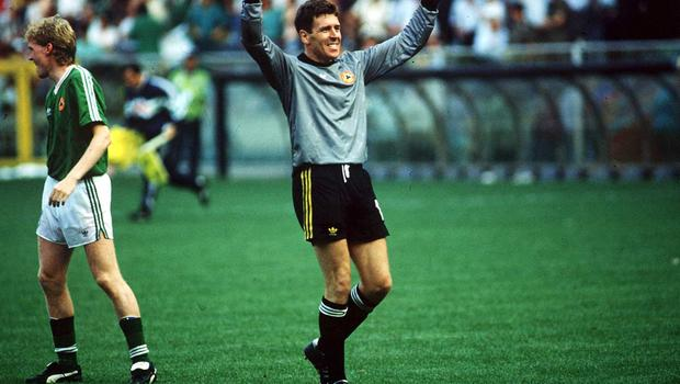 1990; Republic of Ireland goalkeeper Packie Bonner celebrates after a saving the penalty in the penalty shoot out against Romania that put Ireland through to the quarter finals. Republic of Ireland v Romania, World Cup, Italy, Soccer. Picture credit; Ray McManus/SPORTSFILE