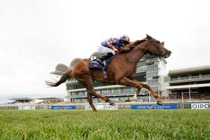 Ryan Moore riding Love on their way to winning The Qipco 1000 Guineas Stakes at Newmarket Racecourse. on Sunday June 7. Photo: Alan Crowhurst/PA Wire