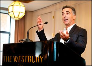 American Music Industry Executive Avery Lipman, co-founder of Republic Records speaking to media and fans during the Picture This press briefing at The Westbury Hotel as they announce their new tour and album. Pic Steve Humphreys 17th October 2018