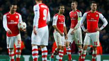 Arsenal players react with disbelief after throwing away their three-goal lead in their Champions League clash with Anderlecht at the Emirates. Photo: REUTERS/Eddie Keogh