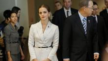 UN Women Goodwill Ambassador Emma Watson (C-Left ) walks next to United Nations Secretary General Ban Ki-moon, while they attend the HeForShe campaign launch at the United Nations