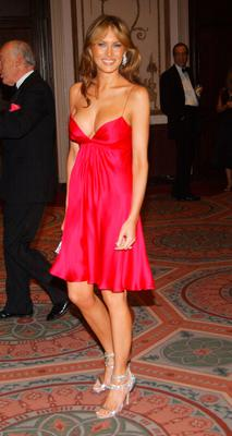 Melania Trump  arrives for the Breast Cancer Research Foundation's Annual Hot Pink Party at the Waldorf-Astoria on April 20, 2005 in New York City.  (Photo by Brad Barket/Getty Images)