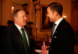 Jason O'Brien interviews White House Press Secretary Sean Spicer. Photo: Gerry Mooney