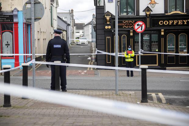 Gardai at the scene of the stabbing this morning in Newbridge, Co Kildare. Picture: Colin Keegan/Collins