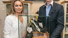 Henry Shefflin and wife Deirdre visit the Irish Wheelchair Association in Kilkenny city to present the boots the hurling legend wore in the 2014 All-Ireland hurling final. Henry had donated the boots for auction for the local branch of the IWA. Tipperary man Joe Fitzpatrick paid €2,000 for them and is hoping they will be used in the proposed hurling museum in Kilkenny