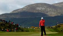 Rory McIlroy plays reacts to a missed putt on the 12th during day one of the Dubai Duty Free Irish Open at Royal County Down Golf Club, Newcastle on Thursday (Brian Lawless/PA Wire)