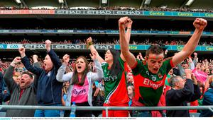 30 August 2015; Mayo supporters celebrate a penalty by Cillian O'Connor. GAA Football All-Ireland Senior Championship, Semi-Final, Dublin v Mayo, Croke Park, Dublin. Picture credit: Ramsey Cardy / SPORTSFILE