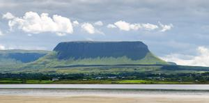 Sky over the mountain Benbulbin in Sligo. The nearby Drumcliffe Parish Church is home to the official grave of poet WB Yeats