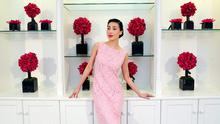 Yomiko wears a Carina Blossom Encrusted Lace Dress at EUR2995 pictured this morning at 56 Merrion Square at the launch of the Louise Kennedy Spring Summer Collection 2015.. Picture Colin Keegan, Collins Dublin.