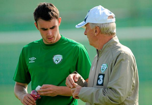 Keith Treacy and former Ireland boss Giovanni Trapattoni during a training session back in 2010. Photo: SPORTSFILE