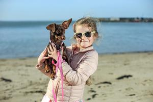 Beach buddies: Zara O'Sullivan (7) with her dog Layla out walking in Skerries, Co Dublin. Photo: Mark Condren