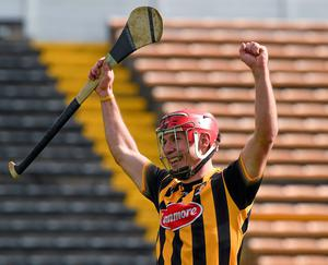 Kilkenny's Cillian Buckley, who scored the last and winning point, celebrates as the referee blows the final whistle