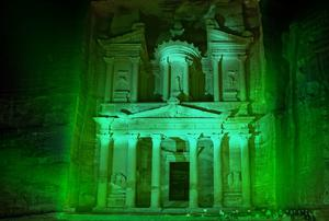 The 'greened' Treasury in the ancient city of Petra, Jordan, as it is likely to appear on St Patrick's Day