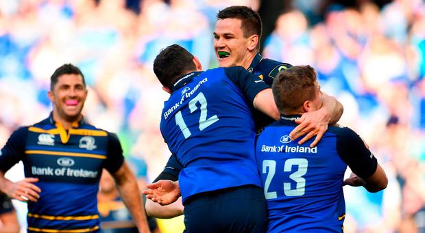 21 April 2018; Jonathan Sexton of Leinster celebrates with teammates after scoring his side's fifth try during the European Rugby Champions Cup Semi-Final match between Leinster Rugby and Scarlets at the Aviva Stadium in Dublin. Photo by Sam Barnes/Sportsfile