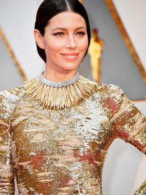 Actor Jessica Biel attends the 89th Annual Academy Awards at Hollywood & Highland Center on February 26, 2017 in Hollywood, California.  (Photo by Frazer Harrison/Getty Images)