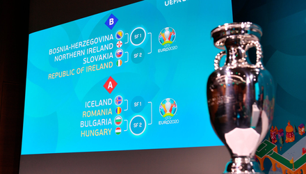 A picture of the European Championships trophy sits beside Ireland's possible Euro 2020 finals group