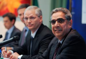 Ajai Chopra, deputy director of the IMF;s European Department and Istvan Szekely from the European Commisson during a press conference in 2011
