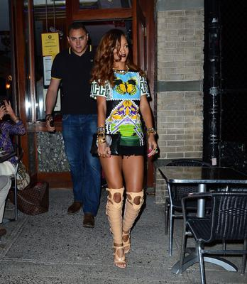 Rihanna leaves Da Silvano on April 30, 2013 in New York City.  (Photo by James Devaney/WireImage)
