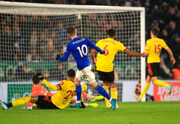 Leicester City's James Maddison scoring his side's second goal of the game. Photo: Mike Egerton/PA Wire