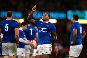 France's Virimi Vakatawa celebrates after the final whistle during the Guinness Six Nations match at the Principality Stadium, Cardiff