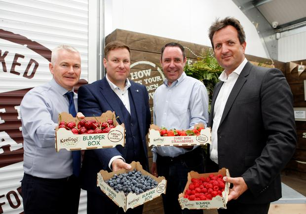 Pictured (l-r) is Colm Bury MD Keelings Select; Daragh Feighery, General Manager Center Parcs Longford Forest; Kevin O'Leary, Account Manager Keelings Select; and Eddie McAdam, Group Food, Beverage and Retail Manager for Center Parcs.