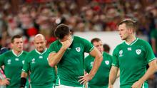 Dejected: Jacob Stockdale after the Rugby World Cup game between Ireland and Japan. Photo: Stu Forster/Getty Images