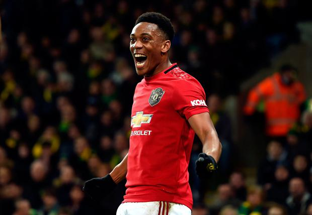 MARTIAL LAW: Anthony Martial celebrates after scoring Manchester United's third goal. Photo: PA