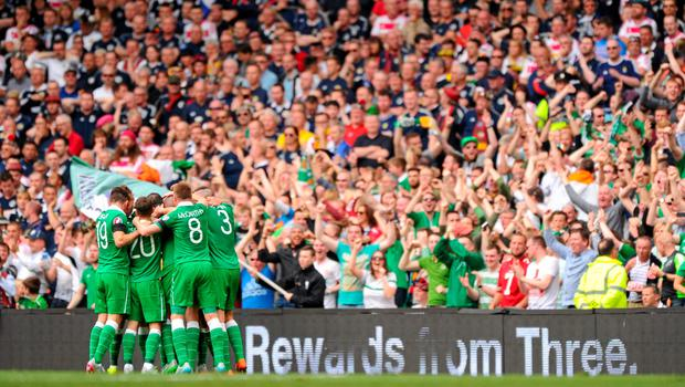 13 June 2015; Republic of Ireland players celebrate their side's opening goal of the game. UEFA EURO 2016 Championship Qualifier, Group D, Republic of Ireland v Scotland, Aviva Stadium, Lansdowne Road, Dublin. Picture credit: Seb Daly / SPORTSFILE
