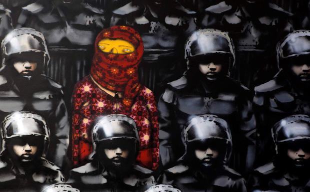 A new installation of British graffiti artist Banksy is pictured in New York