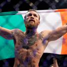 Conor McGregor celebrates his win against Donald Cerrone