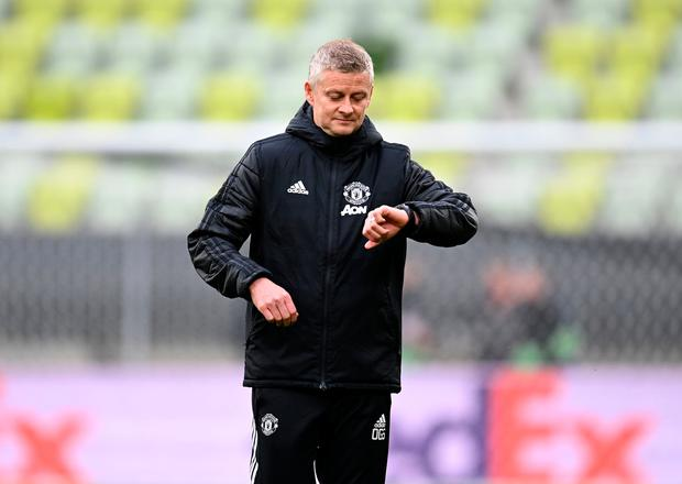 Manchester United manager Ole Gunnar Solskjaer during a training session before the Europa League final, at Gdansk Stadium, Poland.