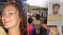 Left: Danielle McLaughlin was murdered at Indian tourist destination. Centre: Vigil held in memory of victim. Right: Vikat Bhagat (23) has been arrested in connection with the murder