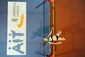 Brianne Theisen Eaton competes in the women's high jump event during the AIT International Arena Grand Prix