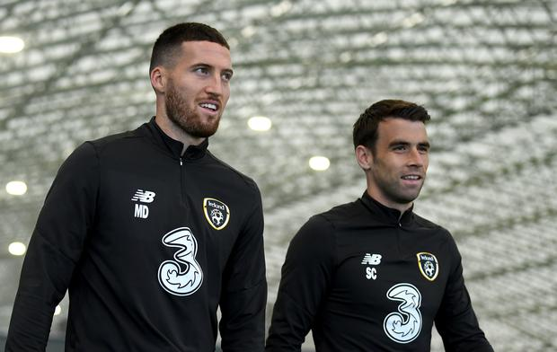 It remains to be seen whether Stephen Kenny looks to accommodate both Matt Doherty (left) and Seamus Coleman in his starting team. Photo by Stephen McCarthy/Sportsfile