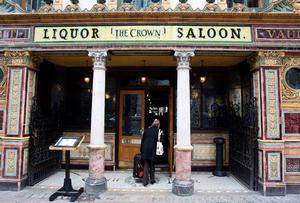 The Crown Bar,  owned by the National Trust in Belfast city centre, which has closed its doors because its licence has lapsed. Photo: Paul Faith/PA Wire