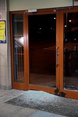 15/3/15 Damage done to the exit doors by a group of youths at Bayside Dart Station in Sutton, Dublin. Picture:Arthur Carron
