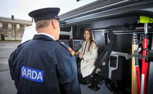Speeding spells danger: Irish Independent reporter Gabija Gataveckaite is shown the technology inside one of the GoSafe vans. Photo: Mark Condren